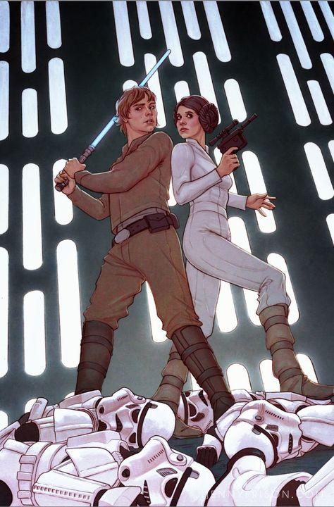 Star Wars #1 variant cover - Luke Skywalker and Princess Leia by Jenny Frison (2015) *