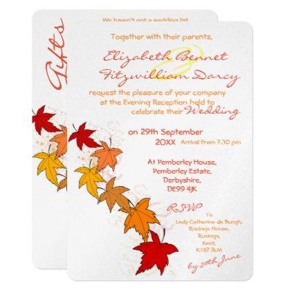 Falling Leaves Evening Invitation Zazzle Com Wedding