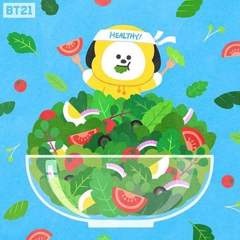 "BT21 on Instagram: ""Eat your greens😉🥗. #CHIMMY #Salad #BT21"""