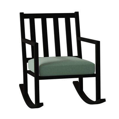 Woodard Woodlands Small Rocking Chair Frame Color Textured Black Cushion Color Mojito Wintergreen Rocking Chair Rocking Chair Cushions Upholstery Fabric For Chairs