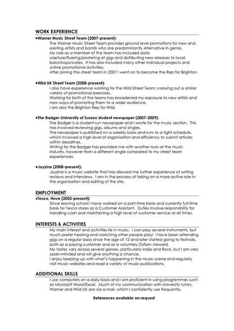 Music Industry Resume  Music Industry Resume