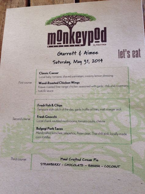Personalized menus from Monkeypod Kitchen, Ko Olina...family ...