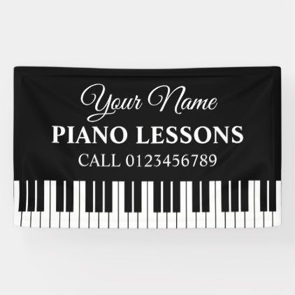 Custom Piano Lessons Banner Sign For Music Teacher Zazzle Com Piano Lessons Music Teacher Lesson