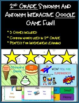 What A Great Way For Students To Practice Their Synonyms And Antonyms And Add To Their V Synonyms And Antonyms Synonyms And Antonyms Words 2nd Grade Activities