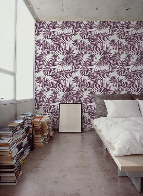 purple palms leaves removable wallpaper traditional purple print