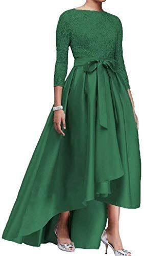 Buy Women S High Low Lace Mother The Bride Dress Long Sleeves Satin Evening Prom Ball Gowns Online Ball Gowns Long Sleeve Dress Satin Evening Dresses