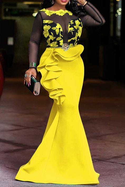 Round Neck Falbala Floor-Length Nine Points Sleeve Fall Women's Dress