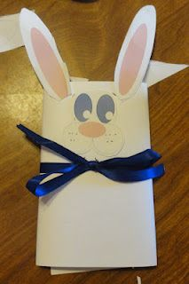 We took the idea from Tammy's snowmen at Cmas and did wraps on microwave popcorn to make Easter Bunnies!