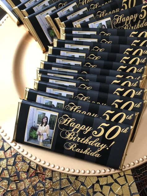 50th birthday favors, 50th birthday party, black and gold party, 40th birthday favors, 50 and fabulo