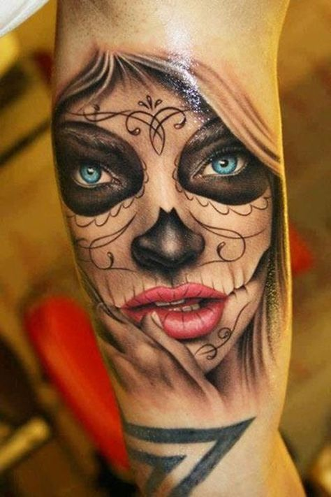 Mexican Day of the Dead Sugar Skull Tattoo with Blue Eyes and Red Lips on Guys Arm