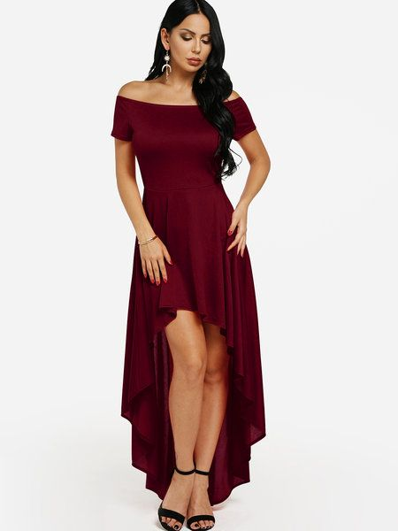 5cb2f628546d8 Burgundy Off-The-Shoulder Hi-Lo Flared Dress - US$19.95 in 2019 ...