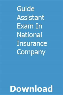 Guide Assistant Exam In National Insurance Company National