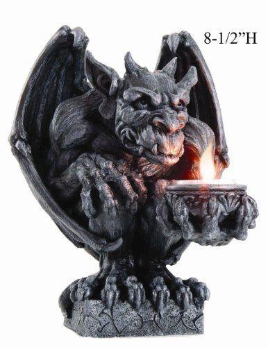 "Winged Ram Horned Gargoyle Sitting On Cathedral Pedestal Statue 6/"" High Dark Fan"