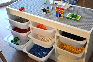 Lego table with the Trofast system from Ikea. Great idea for the boys . - Do it yourself - Kinderzimmer - Lego table with the Trofast system from Ikea. Great idea for the boys … – Do it yourself decora - Mesa Lego, Ikea Trofast Storage, Trofast Hack, Ikea Storage Kids, Playroom Organization, Lego Table Ikea, Lego Play Table, Lego Table With Storage, Storage For Legos