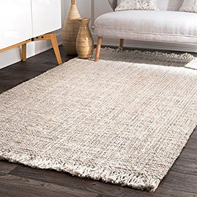 Amazon Com Nuloom Bleached Hand Woven Chunky Loop Jute Area Rug 3 X 5 Kitchen Dining Jute Area Rugs Solid Color Area Rugs Cool Rugs