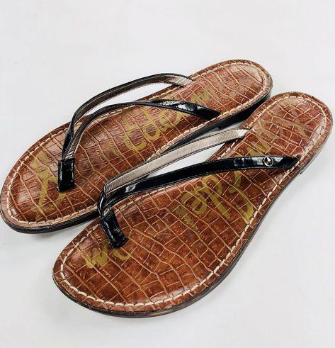e660928a453 27.99 USD ❤ Sam Edelman GRACIE Leather Sandal Flip Flop SZ 8 M Brown Black ❤