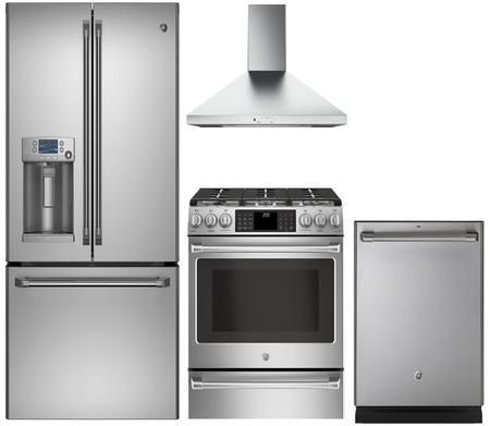 Cafe 891203 4 Piece Stainless Steel Kitchen Appliances Package