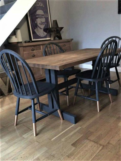 Frenchic fan Melissa wanted an urban look in her dining room so painted Frenchic's Panther on her previously orange pine dining set with Cool Copper Frensheen socks on the chairs! We love it! See this and more inspirational photos of Frenchic painted item