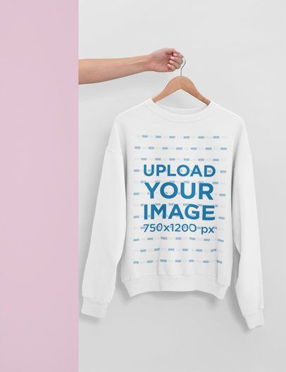 Download Placeit Mockup Of A Hand With A Hanger Showing A Men S Crewneck Sweatshirt Crew Neck Sweatshirt Mens Crewneck Sweatshirt Sweatshirts