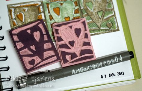 StampingMathilda: Stamp Carving - Interlocking Hearts