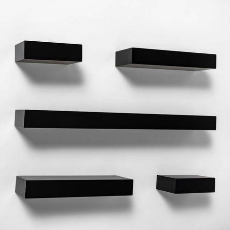 Black Wall Shelves, Black Floating Shelves, Room Ideas Bedroom, Bedroom Wall, Bedroom Decor, Goth Home Decor, Cute Room Decor, Aesthetic Room Decor, Room Setup