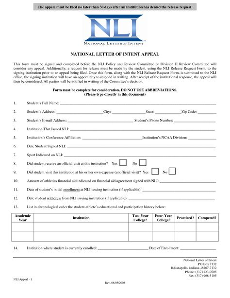 National letter of intent template,National Letter of Intent - letter of intent for university