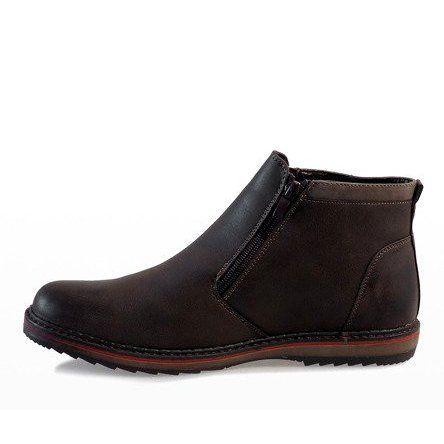 Brazowe Polbuty Wsuwane Ocieplane A20184 3 Shoes Mens Boots Fashion Shoes