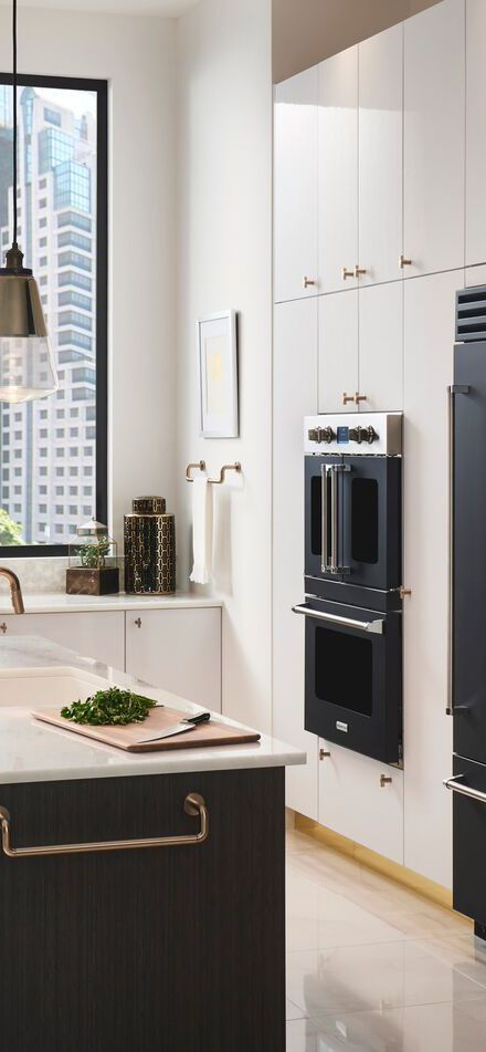 White And Black Kitchen With Gold Accents Bluestar S Premium Wall Ovens Combine Heavy Duty Handc Custom Kitchen Appliances White Modern Kitchen Gas Wall Oven