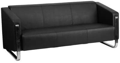 Comm Office Malte Sofa Contemporary Leather Sofa Black Leather