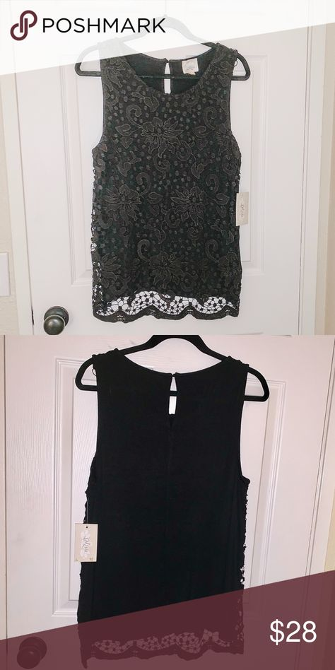 Misia Sleeveless Lace Top - NWT NWT - Misia knit sleeveless top with front lace overlay. Color is Black, size large. Very pretty top 42