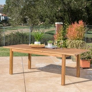 Wilson Outdoor Rectangle Expandable Acacia Wood Dining Table By