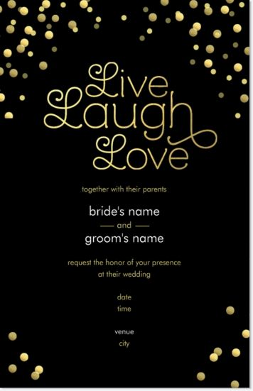 Wedding Invitations Vistaprint.Black Live Laugh Love Vertical Flat Wedding Invitations