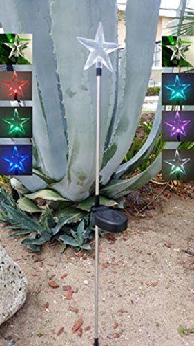Star Solar Powered Garden Stake Led Lights Set Of 2 Color