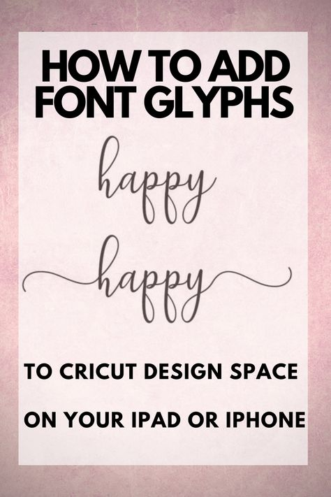 Check out this easy way to get font glyphs onto your iPad or iPhone. Easiest way to get font swooshes into Cricut Design Space Check out this easy way to get font glyphs onto your iPad or iPhone. Easiest way to get font swooshes into Cricut Design Space Free Fonts For Cricut, Cricut Fonts, Cricut Air 2, Cricut Vinyl, Cricut Tutorials, Cricut Ideas, How To Use Cricut, Cricut Help, Script Lettering