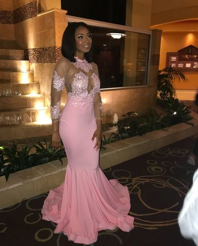 b0215ce6629 Pink Mermaid Satin Prom Dresses Crew Neck Long Sleeve Lace Appliques ...