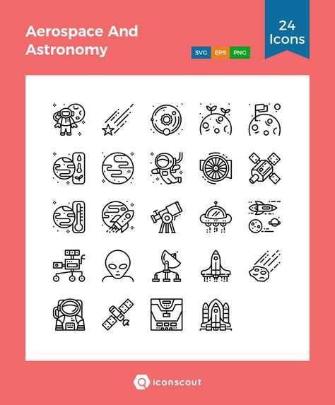 Aerospace And Astronomy  Icon Pack - 24 Line Icons