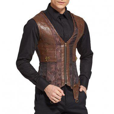 Punk Rock Sleeveless Jacket Steampunk Vest Men Chaleco Hombre Corset Mens Waistcoat Gothic Clothing