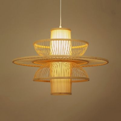 Multi Tiers Ceiling Pendant Light Living Room 1 Light Modern Handmade Bamboo Hanging Light Hanging Ceiling Lamps Ceiling Lights Traditional Pendant Lighting