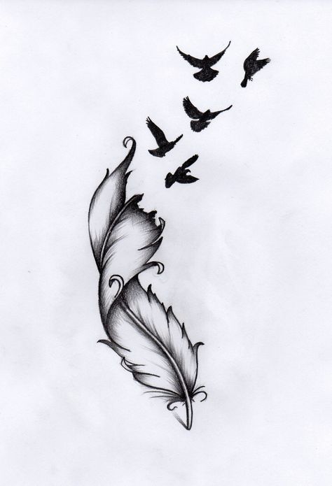 Or tattoo feather bird inscription nonna - Art Zeichnungen - .