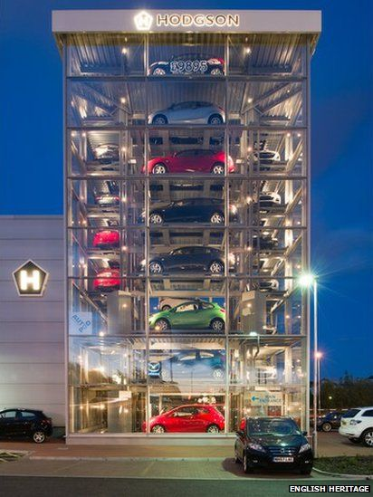 From the BBC, a car showroom in Scotland, made of clear glass with an elevator that can retrieve a car in 1 minute.