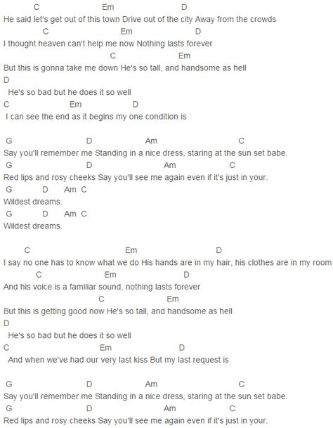 1989 Taylor Swift How You Get The Girl Chords Lyrics For Guitar