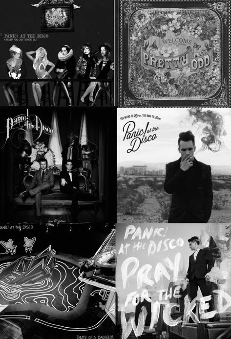The Panic! albums in b&w