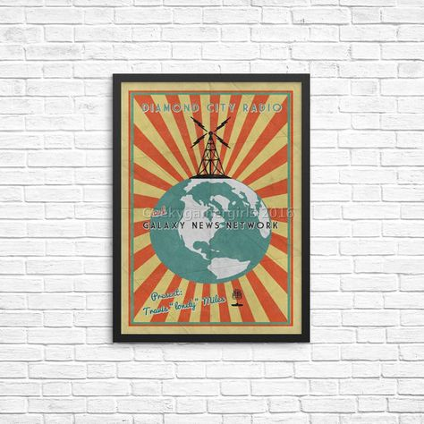 Fallout Poster Diamond City Radio Poster Vintage Look Print Videogame Art Galaxy News Network Poster Gee Fallout Posters Vintage Posters Diamond City