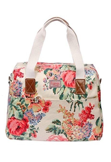 Pink Flower, Handbag, Tote Bag, Zipper, Shoulder Bag M, Leather, Lining,  Canvas transparent background PNG clipart | HiClipart