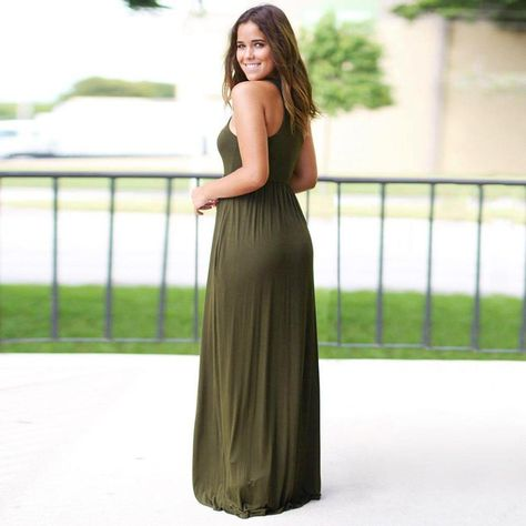 d0172104239f Beautyfine 2018 Newest Maxi Dress Beach Summer Sundress Womens Solid Long  Boho Dress     Read more at the image link. (This is an affiliate link)    ...