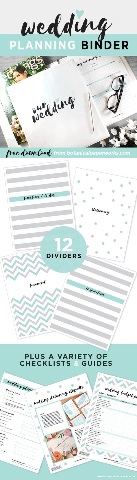 This Freeprintable Wedding Planning Binder Comes In  Color