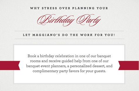 We turned 23 this month! Celebrate your birthday with Maggiano's Banquets!