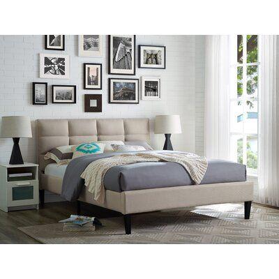 Serta Francis Upholstered Platform Bed Color Beige Size Queen