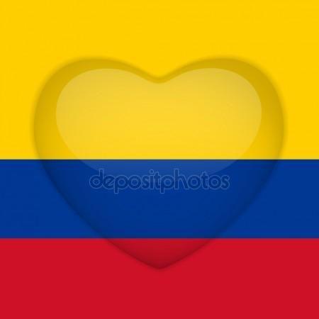 Boton Brillante De Corazon De Bandera De Colombia Vector De Stock