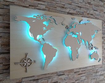 World Map Of Wood Led Lighting 3d Effect Weltkarte Aus Holz Led Beleuchtung Led